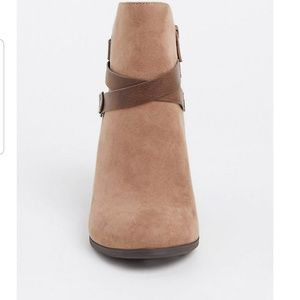 Taupe faux suede strappy bootie.